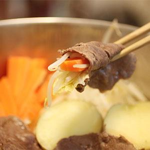 エゾシカ肉の蒸しシャブシャブ